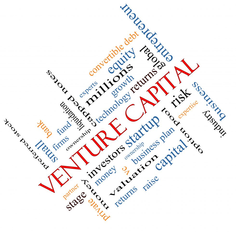 Venture Capital Word Cloud Concept angled with great terms such as investors startup risk and more.